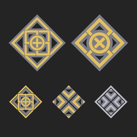 mehendi: Asian ornaments. Vector arabic geometric symbols set Illustration