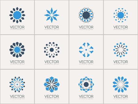 mehendi: Geometric logo template set. Vector circular arabic ornamental symbols