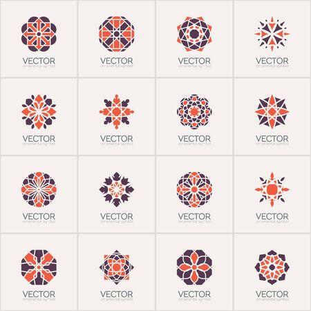set symbols: Geometric logo template set. Vector circular arabic ornamental symbols