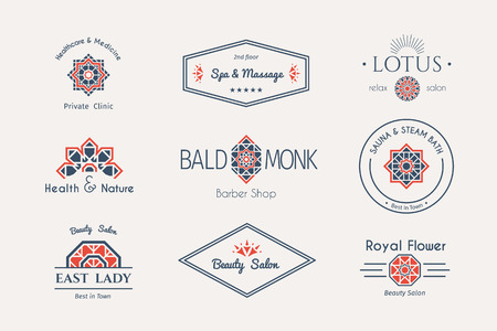 Asian health and beauty logo templates set. Vector ethnic ornamental design for beauty salons, spa, massage, barber shops, saunas, healthcare and medicine.  イラスト・ベクター素材