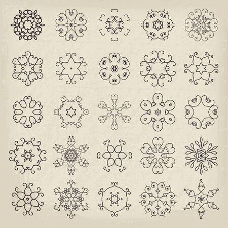 lineart: Lineart circular mandalas set. Vector arabic geometric symbols