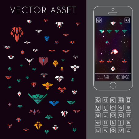 asset: Vector asset for space game interface. Spacecraft icons Illustration