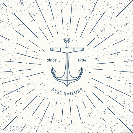 travel agencies: Retro nautical lineart label with anchor. Vector template design of travel agencies, tourist offices, boat rental or cruise.