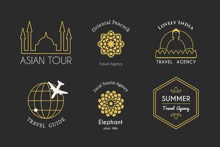 ornamental design: Asian travel templates set. ethnic ornamental design for travel agencies, tourist offices, local guides, booking and rental services.
