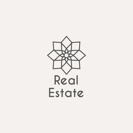 rental agency: Asian real estate template. ethnic ornamental design for agency, house and apartment rental, construction services or apartment repairs.