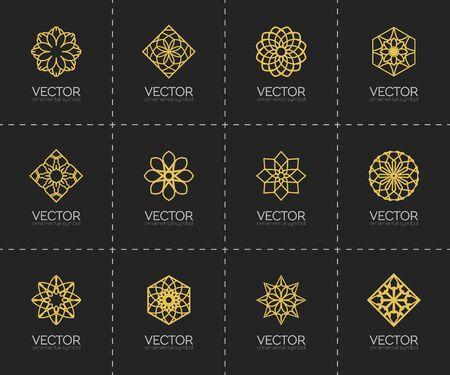 lineart: Lineart ornamental templates set. geometric symbols Illustration