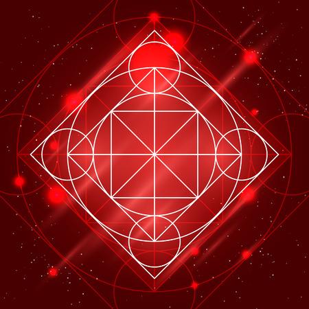 arcanum: Magic geometry sign. alchemy mystical symbol on space background