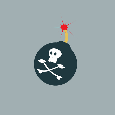 fuse: Bomb ready to explode with fuse and Jolly Roger sign. Illustration