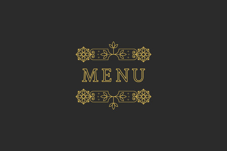 headline: Restaurant Menu Headline on Dark Background. Vintage Design