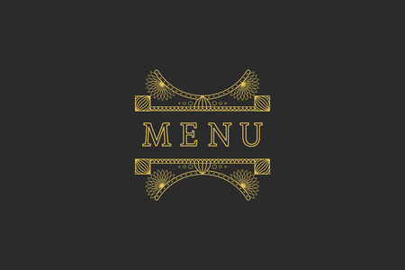 headline: Restaurant Menu Headline on Dark Background Vintage Design