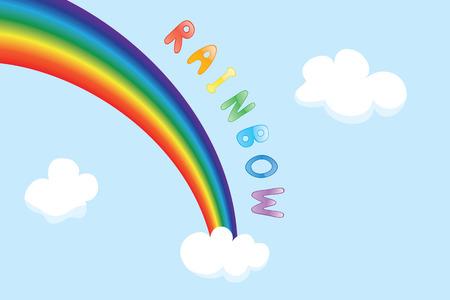 rainbow sky: Cartoon background with sky, rainbow and clouds