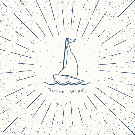 for rental: Retro nautical lineart label with yacht. Vector template for design of travel agencies, tourist offices, boat rental or cruise. Illustration
