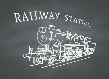 Vapor ilustración locomotora. Tren retro del vector en el fondo de la pizarra