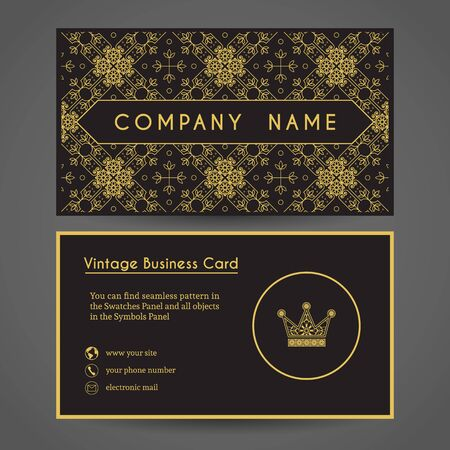 Ornamental vintage business card with crown vector editable ornamental vintage business card with crown vector editable template include front and back side colourmoves