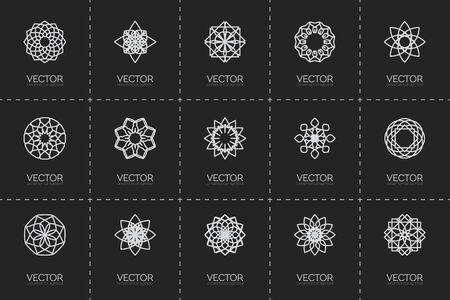 lineart: Lineart ornamental logo templates set. Vector geometric symbols Illustration