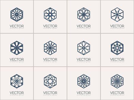 lineart: Lineart ornamental logo templates set. Vector hexagonal arabic geometric symbols