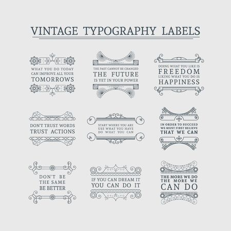 headline: Vintage headline calligraphic decorations. Vector collection of retro typographic labels with ornamental borders and motivational quotes
