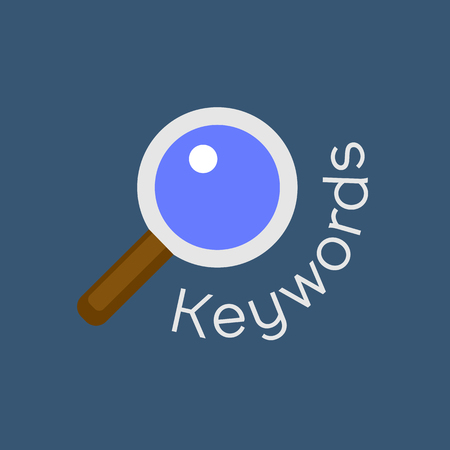 keyword: Keywords searching concept with magnifying glass. Vector background for website search engine optimization