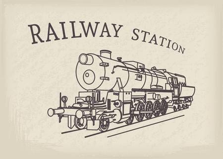 Vapor ilustración locomotora. Tren retro del vector en el fondo de papel del grunge