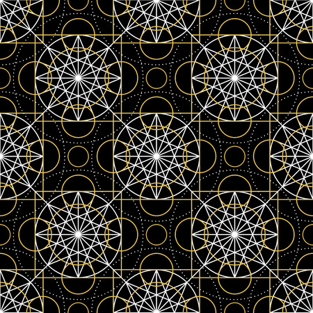 arcanum: Geometric seamless texture. Vector linear mystical pattern on black background