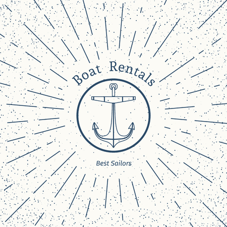 travel agencies: Retro nautical lineart label with anchor. Vector template for logo design of travel agencies, tourist offices, boat rental or cruise.