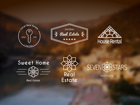 rental agency: Asian real estate logo templates set. Vector ethnic ornamental design for agency, house and apartment rental, construction services or apartment repairs.