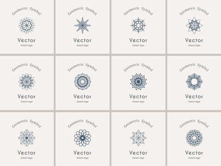 lineart: Lineart ornamental logo templates set. Vector arabic geometric symbols