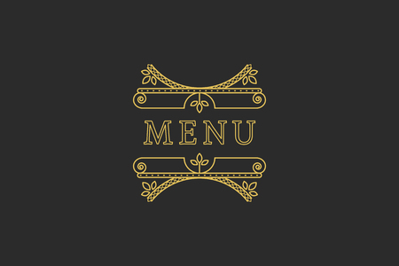 headline: Restaurant Menu Headline on Dark Background. Vector Vintage Design Illustration