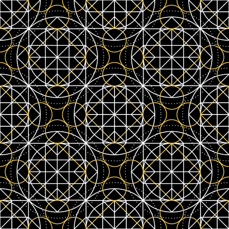 arcanum: Geometric seamless texture. linear mystical pattern on black background