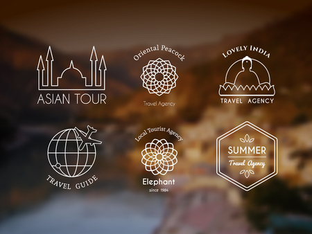 travel agencies: Asian travel templates set. ethnic ornamental design for travel agencies, tourist offices, local guides, booking and rental services.