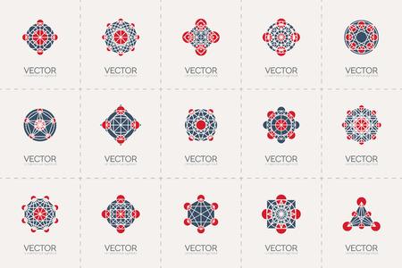 spirograph: Geometric template set. mosaic arabic ornamental symbols