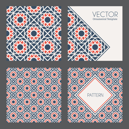 Seamless textures collection with geometric ornaments. Illustration