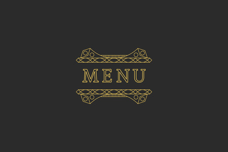 headline: Restaurant Menu Headline on Dark Background. Illustration