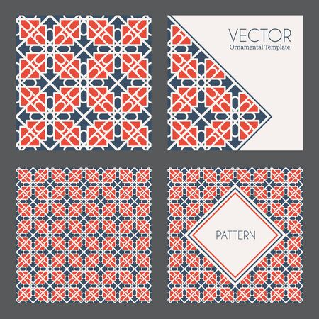 Seamless textures collection with geometric ornaments. Vector patterns