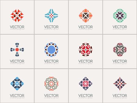 set symbols: Geometric logo template set. Vector mosaic arabic ornamental symbols