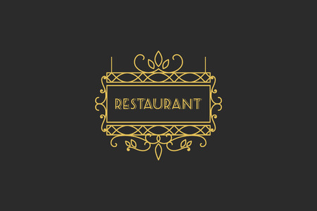 outdoor advertising: Vintage signboard for outdoor advertising of cafe or restaurant. Vector retro lineart design Illustration