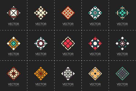 set symbols: Geometric logo template set. Vector rhombic arabic ornamental symbols