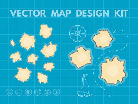 mapa del tesoro con las islas. Vector kit de diseño de la interfaz del juego
