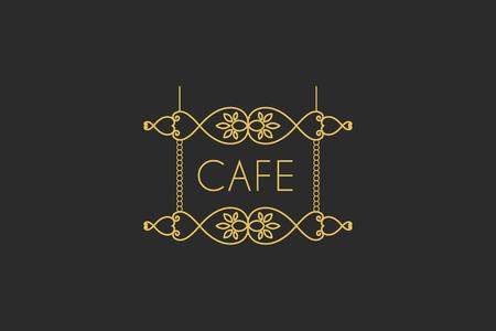 signboard design: Vintage signboard for outdoor advertising of cafe or restaurant. Vector retro lineart design Illustration