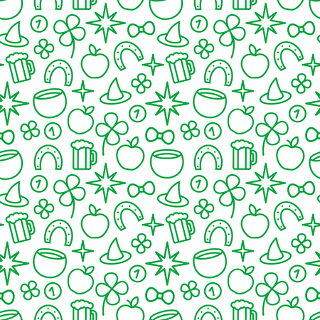 patrik: St. Patricks day green background. Vector seamless pattern Illustration