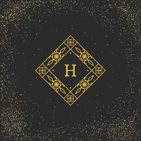 Vintage monogram on black background. Vector emblem for calligraphic luxury  and retro ornamental design. Illustration
