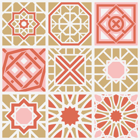 Patterns set with arabic geometric ornaments. Vector collection Illustration
