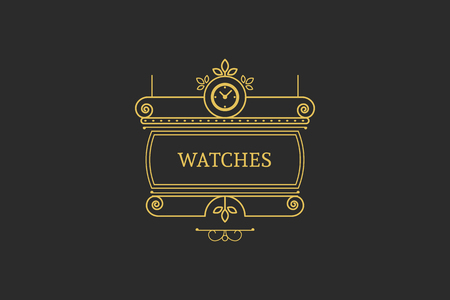 watchmaker: Vintage signboard for outdoor advertising of watchmaker or watch store. Vector retro linear design Illustration