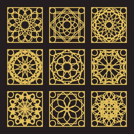 Patterns set with luxury arabic geometric ornaments. Vector collection 일러스트