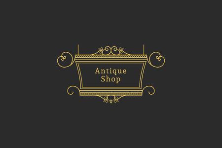outdoor advertising: Vintage signboard for outdoor advertising of antique shop. Vector retro lineart design