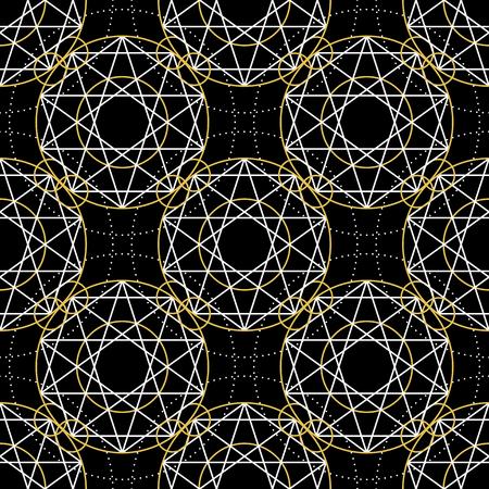 arcanum: Geometric seamless texture. Vector linear mystical pattern on black background