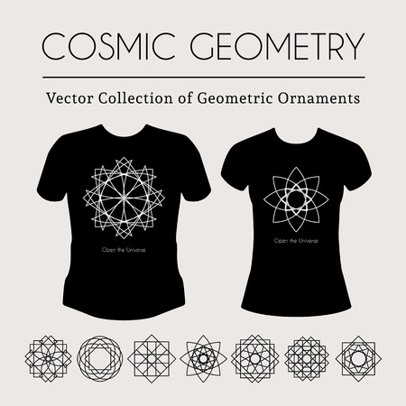 arcanum: Cosmic Geometry. Vector t-shirt template with mystical signs Illustration