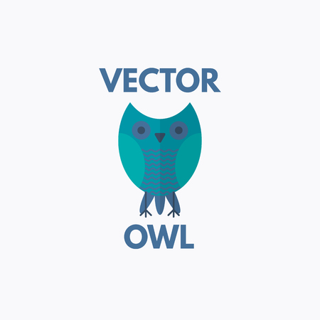 Intelligent owl logo template. Vector flat design Illustration
