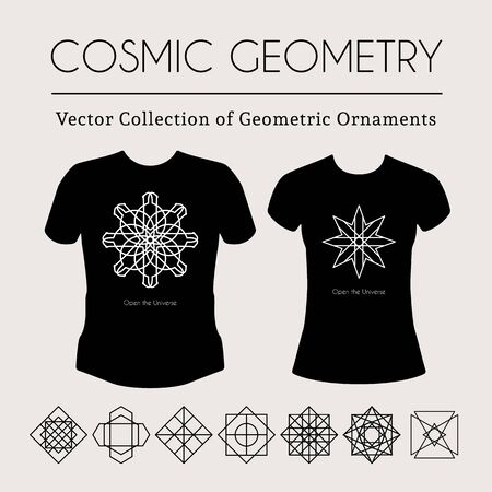 arcanum: Cosmic Geometry.  t-shirt template with mystical signs Illustration