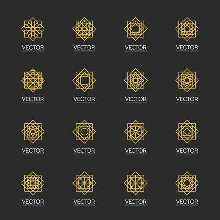 lineart: Lineart ornamental logo templates set. arabic geometric symbols Illustration